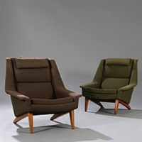 a pair of easy chairs with beech frame by folke ohlsson