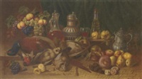 game, onions, grapes, a lemon, pears, mushrooms, dates, apples, various vessels and a basket of fruit on a draped table by t. borovsky