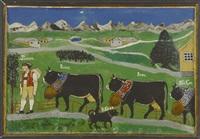 senn franz mit drei kühen und hund vor berglandschaft und forstsee by anonymous-swiss (19)
