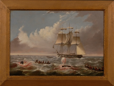 whalers longboats and crews engaged in the pursuit of whales 2 works by anglo american school 19