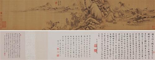 仿古山水卷 emulation of ancient landscapes colophon lrgr by dong qichang