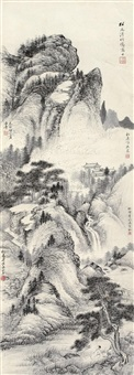 古寺松风图 (landscape) by pu jin, pu zuo and qi gong