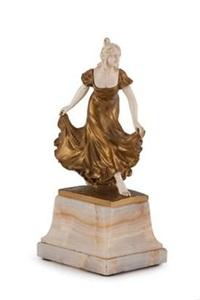 an art nouveau bronze and ivory figurine of a lady by gladenbeck (co.)