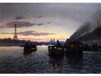 nächtliche ansicht von paris mit eiffelturm und trocadero by eugene h. frey