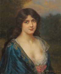 portrait of a girl wearing a blue dress decorated with a rose by abbey altson