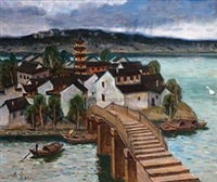 水乡 布画 (the southen china) by xu junxuan