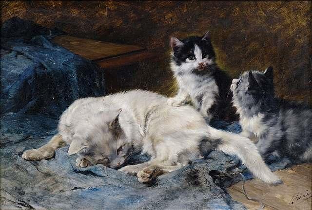 katzenmutter mit zwei kätzchen by julius adam the younger