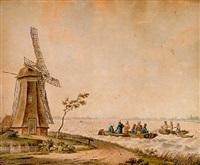 vissers bij een molen by johan friedrich anton koster