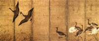 a flock of geese among grasses (6 sheets fold screen) by japanese school-kano (18)