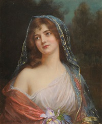 iris (portrait of a girl wearing a cream dress and blue and gold embroidered shawl) by abbey altson