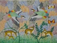 paysage avec faons et oiseaux by mulongoy pili pili