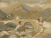 the roman bridge at polensa by adolphe valette