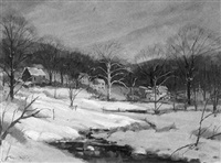 winter landscape of french creek, st. peter's village, chester county, pa by wilmer richter
