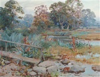 a wooded river landscape by frank richards