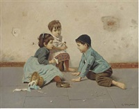 children playing (+ another similar; pair) by l. vagano