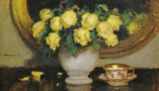 stilleben mit gelben rosen in weißer porzellanvase vor einem spiegel by alfons karpinski