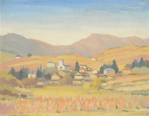 continental village with mountains in the distance by adolphe valette