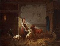 bauernmädchen beim füttern im stall by august von rentzell