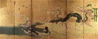 birds in flight or perched on a gnarled flowering plum tree by a stream (6 sheets fold screen) by japanese school-kano (18)