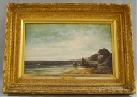 calm sea and a rocky coastline by william henry hilliard