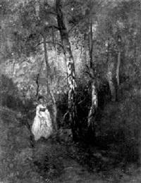 frau im wald by octave alfred saunier