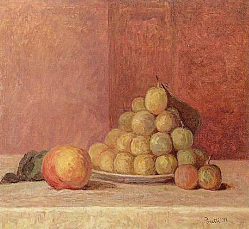 stilleben mit pflaumen und pfirsich by erminio poretti