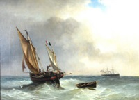 sailing vessel and a steamer on choppy seas by louis bentabole