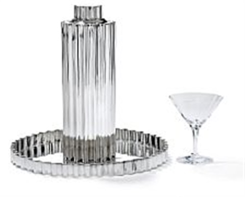 kay fisker: large sterling silver cocktail shaker and serving tray. (2)