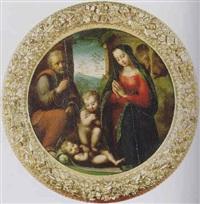 la sacra famiglia e san giovannino in adorazione del bambino gesù by domenico di bartolomeo (puligo) ubaldini