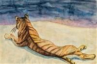 liegender tiger by hans josef weber-tyrol