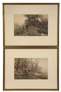 bucks county, pennsylvania farm scenes (pair) by frank f. english