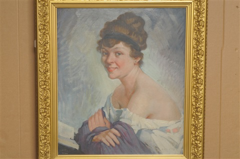 portrait of a girl, wearing a cream dress and purple shawl by adolphe valette