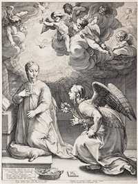 the annunciation, from; the early life of the virgin by hendrik goltzius
