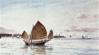 junk with a rowing boat moored alongside in hong kong harbour by henry george gandy