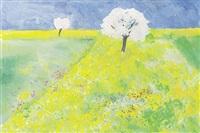 frühlingswiese mit blühenden bäumen by ludwig miller