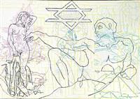 composition with michelangelo's adam and venus figure by john davidsen