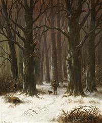 jäger im winterwald by hendrik pieter koekkoek