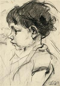 knabe im profil nach links. brustbildnis by ludwig meidner
