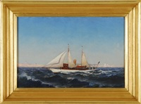 american steam-sail yacht off highland light by william formby halsall