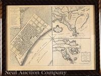 grondvlakte van nieuw orleans, de hoosdstad van louisiana/ de uitloop van de rivier missisippi/ de oostelyke ingang van de missisippi, met een plan van het fort, 't welk het kanaal beheerscht by isaak tirion