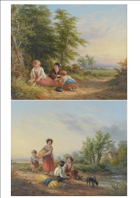 children beside a path (+ children with stooks of corn and a dog beside a stream; pair) by john anthony puller