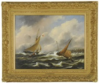 boten op woliige zee (boats on a stormy sea) by govert van emmerik