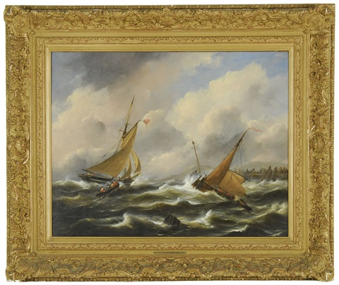 boten op woliige zee boats on a stormy sea by govert van emmerik