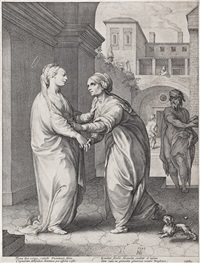 the visitation, from: the early life of the virgin by hendrik goltzius
