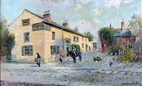 the black horse hotel, wallasey, wirral, with figures and hens before by james hughes clayton