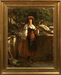 country maiden on a terrace holding distaff and spindle by richard freytag