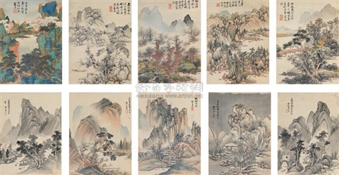 various landscapes album w10 works by lan ying and qi zhijia