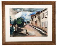 village street scene with house facades by maurice de vlaminck