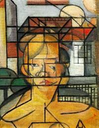 kubistisk kvindeportræt (fri kopi efter juan gris, udført i dennes atelier under hans vejledning) by ernst goldschmidt