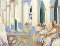 vor einer säulenhalle sitzende araber by william lambrecht